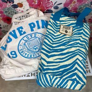 Victorias Secret Pink Canvas Tote Bag Bundle Set